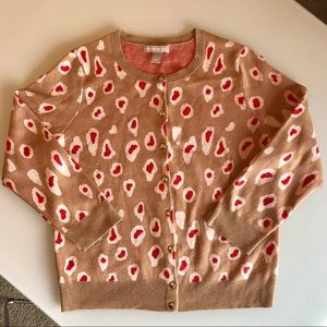 Banana Republic L Cardigan Sweater Cheetah Print